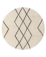 Round Wool Rug Berber Cream