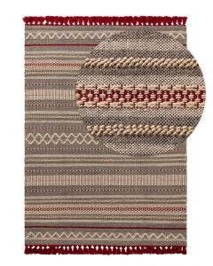 Wool rug Tolga Grey/Red