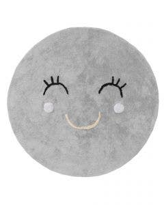 Washable Kid´s Rug Inka Smiling Face Grey