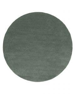 Round Wool Rug Bent Plain Green