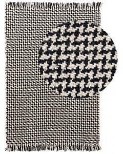 Wool rug Pepita Black/White