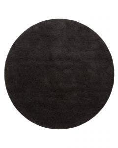 Round Wool Rug Bent Plain Charcoal