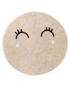 Washable Kid´s Rug Inka Smiling Face Beige