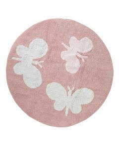 Washable Kid´s Rug Bambini Butterflies Rose