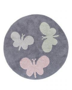 Washable Kid´s Rug Bambini Butterflies Grey