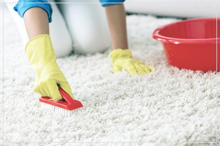 cleaning a natural fibre rug with a brush, water and soap